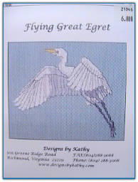 Flying Great Egret / Designs by Kathy